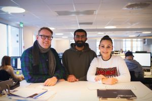 Tre ansatte i reklamebyrået NORD DDB.