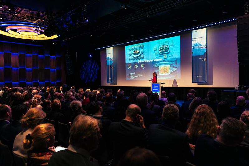 Medarbeider fra Norges sjømatråd som holder foredrag